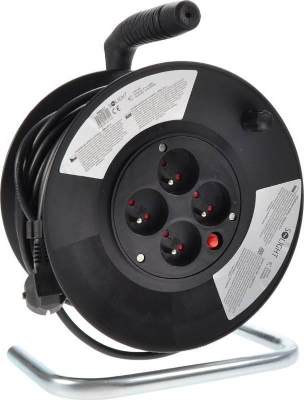 prodlužovací přívod na bubnu, 4 zásuvky, černý, 25m PB01 Solight