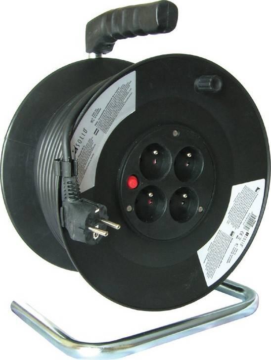 prodlužovací přívod na bubnu, 4 zásuvky, černý, 50m PB02 Solight