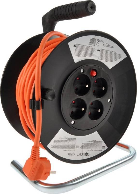 prodlužovací přívod na bubnu, 4 zásuvky, oranžový, 25m PB03 Solight
