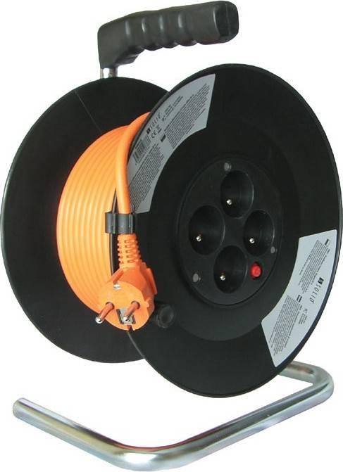 prodlužovací přívod na bubnu, 4 zásuvky, oranžový, 50m PB04 Solight