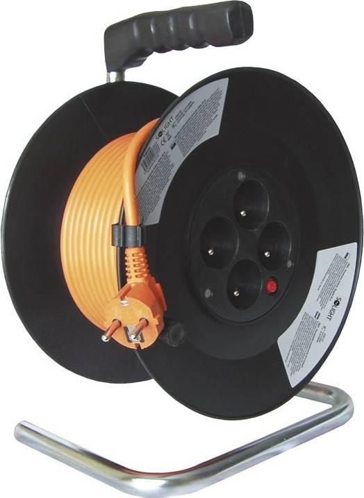 prodlužovací přívod na bubnu, 4 zásuvky, oranžový kabel, černý buben, 20m PB09 Solight