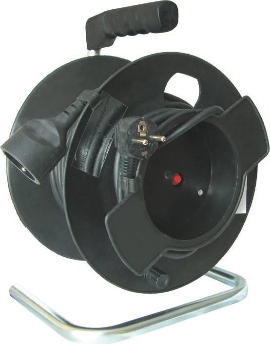 prodlužovací přívod na bubnu, 1 zásuvka, černý, 25m PB11 Solight