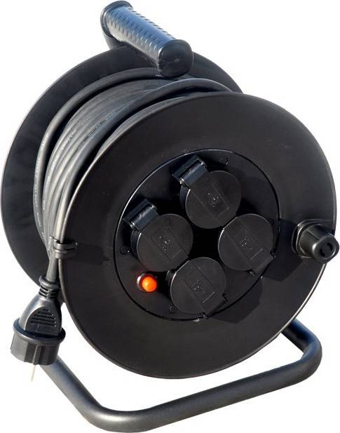 prodlužovací přívod na bubnu, venkovní, 4 zásuvky, černý, 50m PB34 Solight