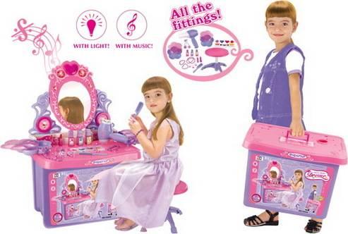 Hračka Kosmetický stolek LOVELY se zrcadlem a zvuky, v kufru 690411 G21
