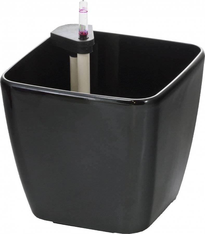 Samozavlažovací květináč Cube černý 22 cm 639241 G21