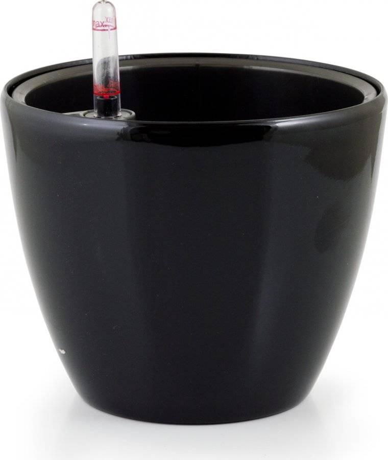 Samozavlažovací květináč Ring černý 17,5 cm 6392551 G21