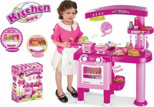 Hračka Dětská kuchyňka velká s příslušenstvím růžová 690665 G21