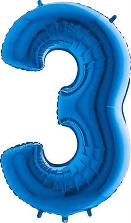 Nafukovací balónek číslo 3 modrý 102cm extra velký - Grabo