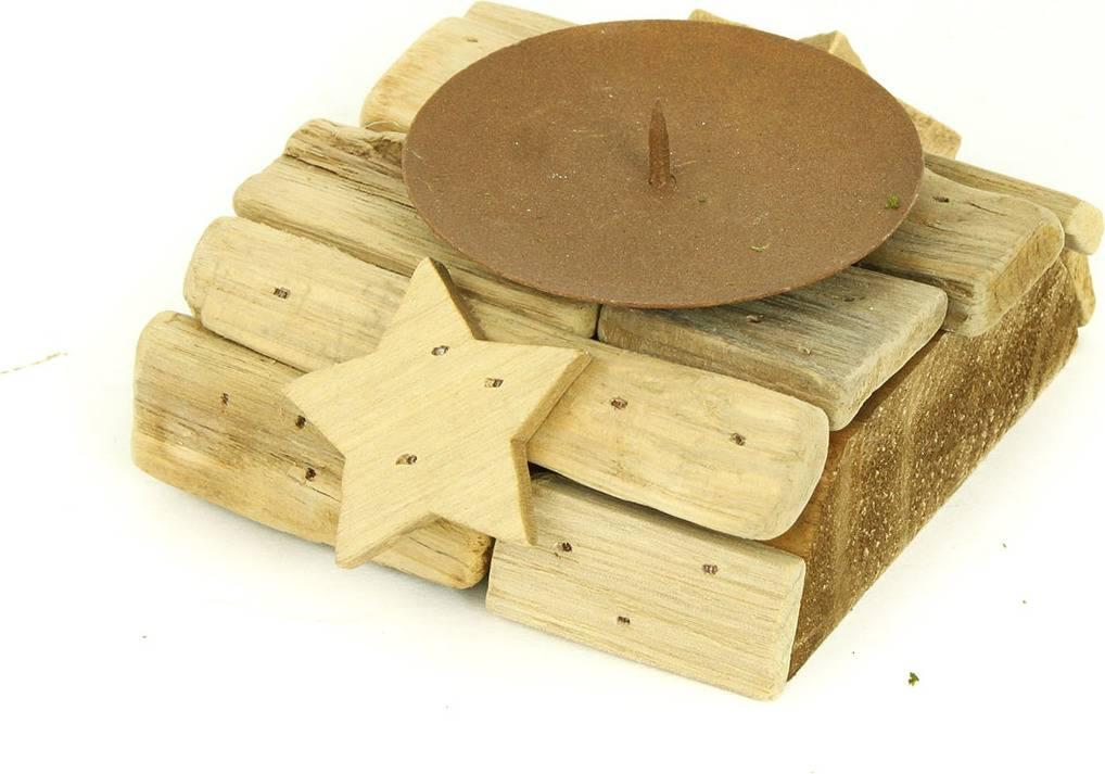 Svícen dřevěný s bodcem na svíčku DV2921 Art