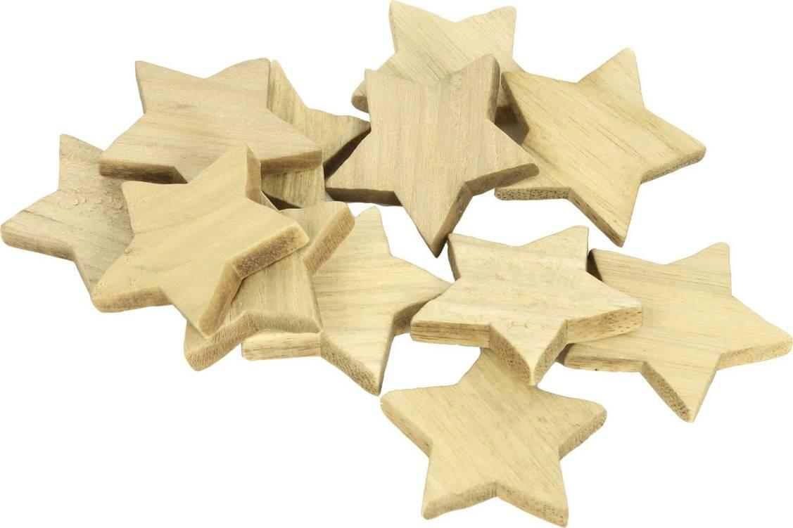 Hvězdička dřevěná dekorace, 12 kusů v sáčku, cena za 1 sáček DV2925 Art