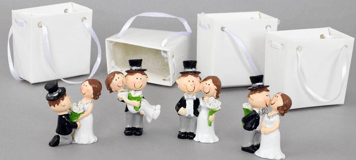 Nevěsta a ženich v papírové krabičce, dekorace z polyresinu, box 12 kusů, cena za 1 pár FP7005 Art