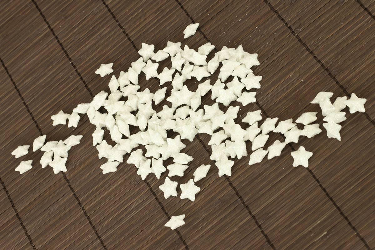 Hvězdička bílá dekorační, cena za sadu 120 kusů/1 polybag. VCA037 WH Art