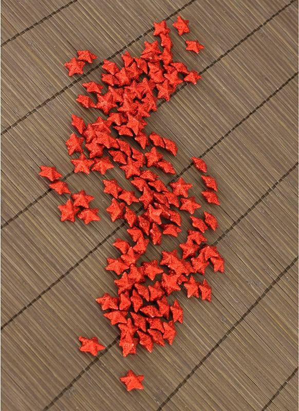 Hvězdička červená dekorační, cena za sadu 120 kusů/1 polybag. VCA039 RED Art