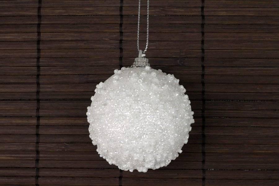 Dekorace vánoční závěsná bílá s glitry, cena za sadu 6 kusů VCA109 Art