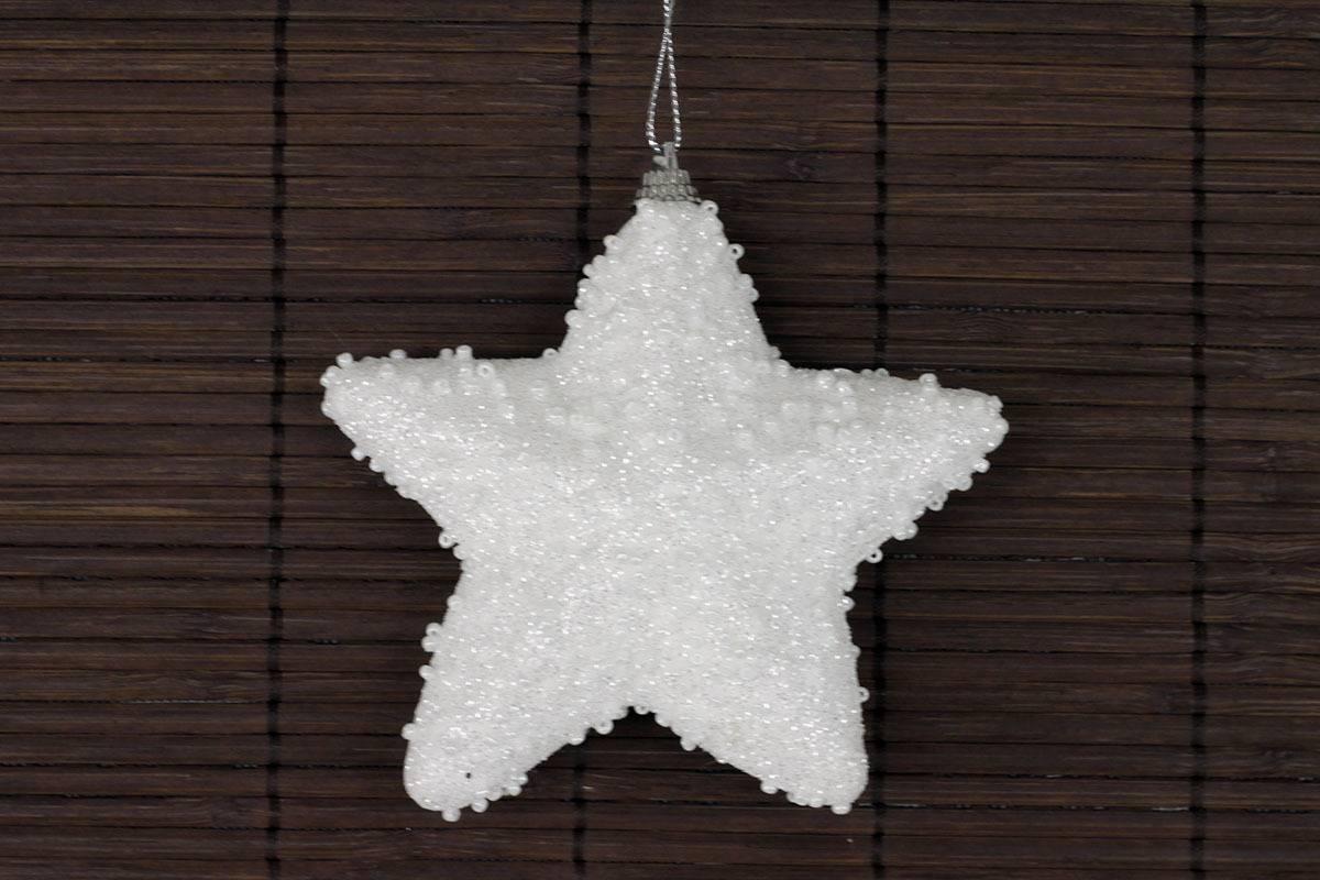 Dekorace vánoční závěsná bílá s glitry, hvězdička VCA112 Art