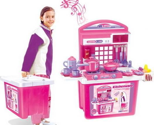 Hračka Dětská kuchyňka s příslušenstvím v kufru růžová 690677 G21