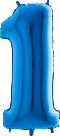 Nafukovací balónek číslo 1 modrý 102cm extra velký - Grabo