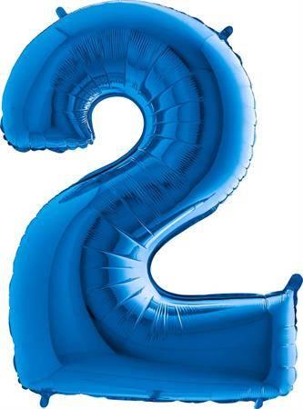 Nafukovací balónek číslo 2 modrý 102cm extra velký - Grabo