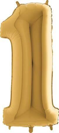 Nafukovací balónek číslo 1 zlatý 102cm extra velký - Grabo