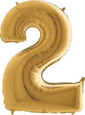 Nafukovací balónek číslo 2 zlatý 102cm extra velký - Grabo