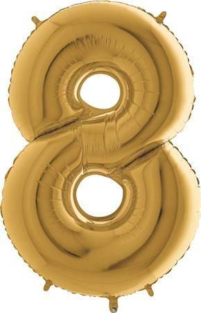 Nafukovací balónek číslo 8 zlatý 102cm extra velký - Grabo
