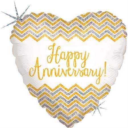 Nafukovací balónek srdce šťastné výročí 46 cm - Grabo