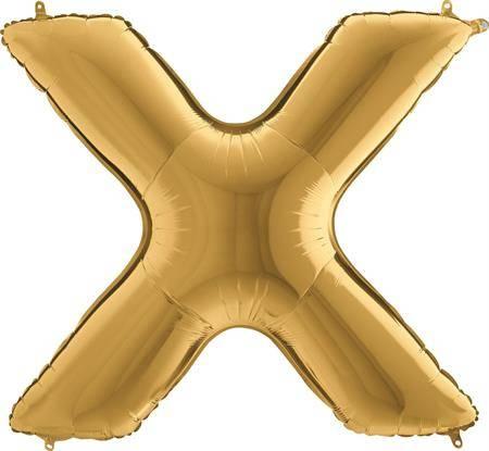 Nafukovací balónek písmeno X zlaté 102 cm - Grabo