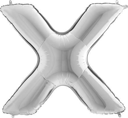 Nafukovací balónek písmeno X stříbrné 102 cm - Grabo