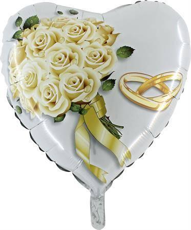 Nafukovací balónek bílé růže 46 cm - Grabo