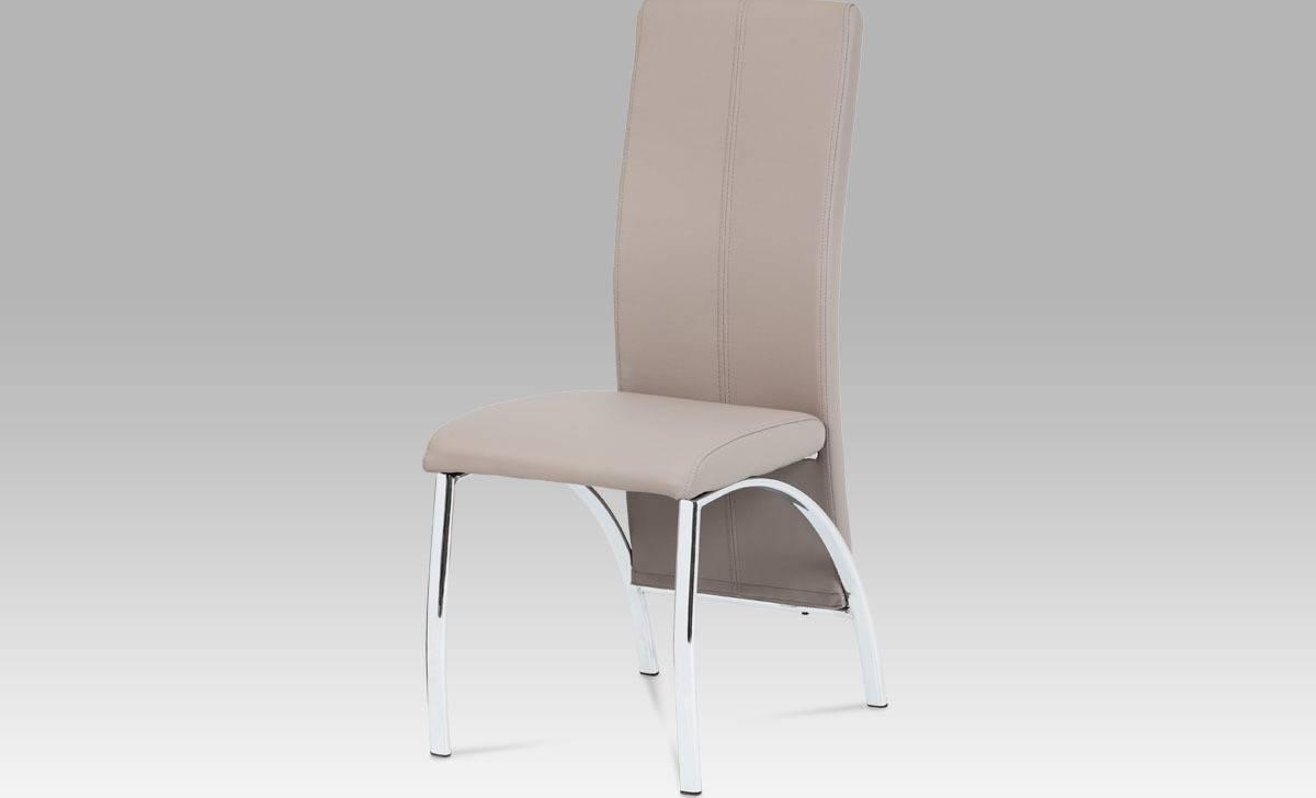Jídelní židle, koženka lanýž / chrom AC-1060 LAN Art