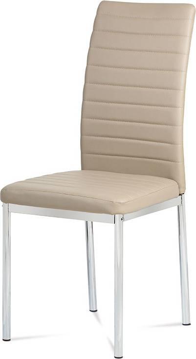 Jídelní židle koženka cappuccino / chrom AC-1285 CAP Art