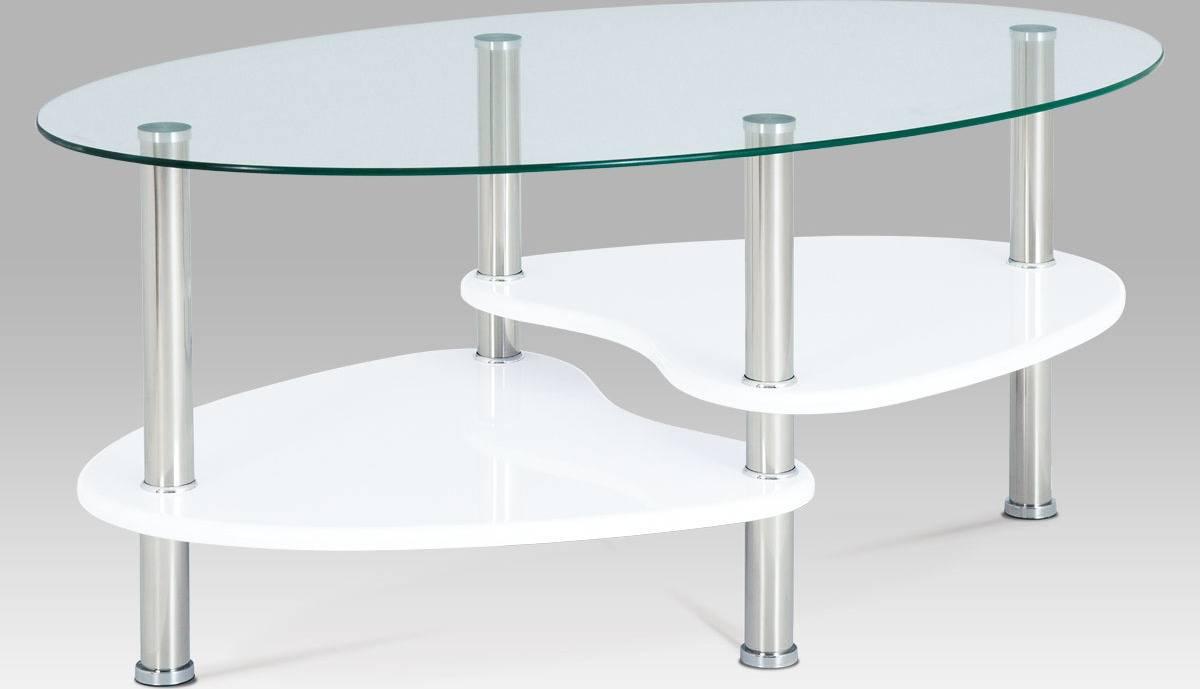 Konferenční stolek, sklo / police vysoký lesk bílý / leštěný nerez ACT-007 WT1 Art