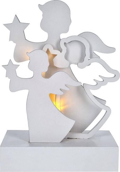 LED andělé, dřevo, bílá barva, 2x AA 1V219 Solight