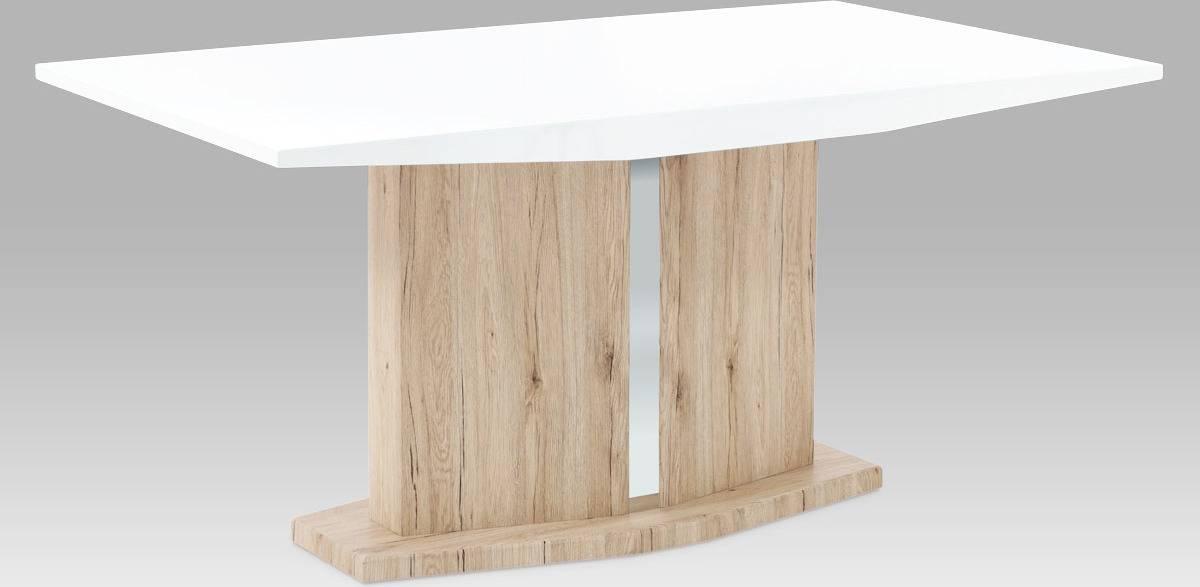 Jídelní stůl 160x90 cm, vysoký lesk bílý / san remo AT-2013 WT Art
