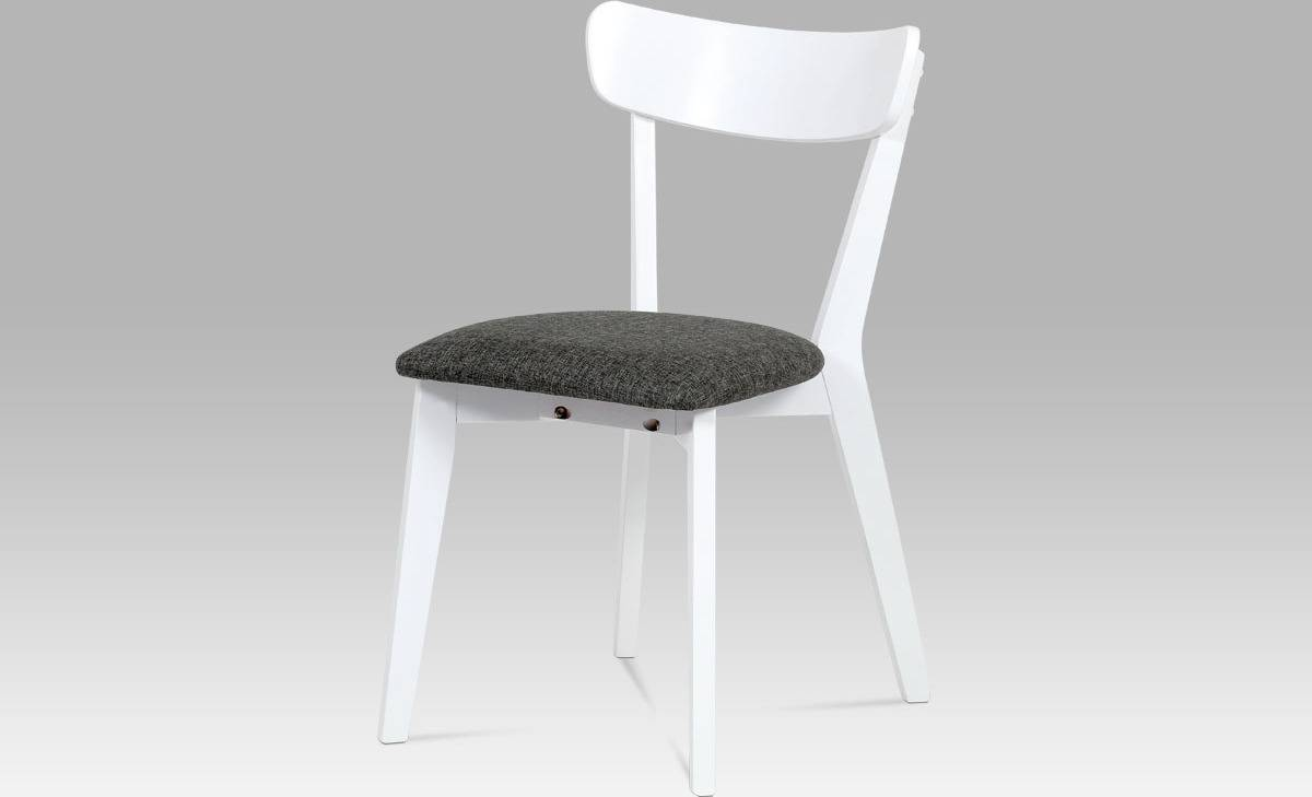 Jídelní židle bílá, sedák šedá látka AUC-009 WT Art