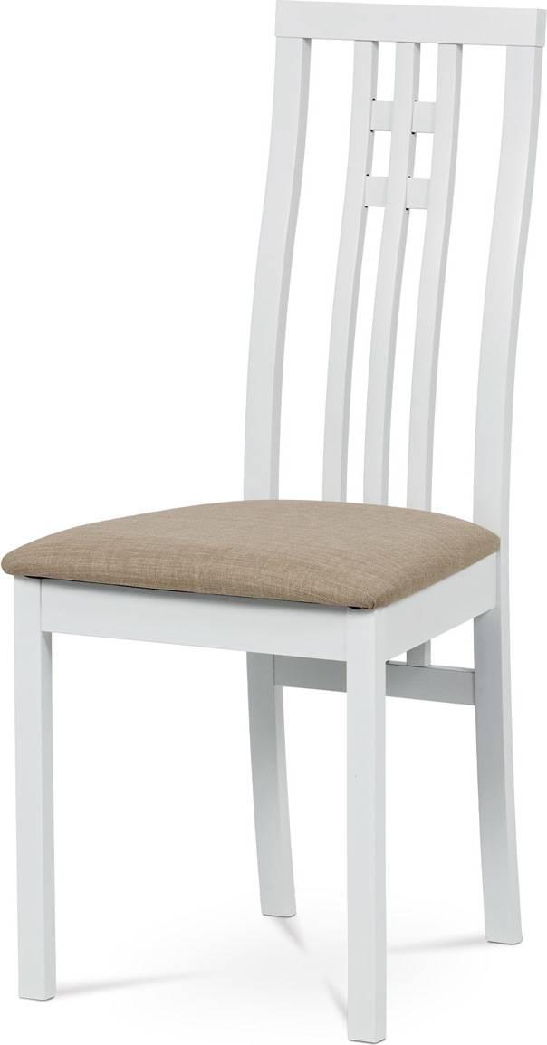 Jídelní židle masiv buk, barva bílá, potah béžový BC-2482 WT Art