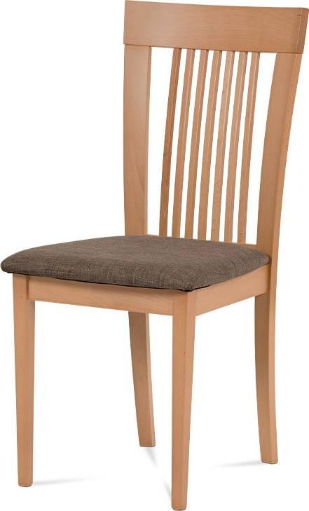 Jídelní židle, barva buk, potah hnědý BC-3940 BUK3 Art