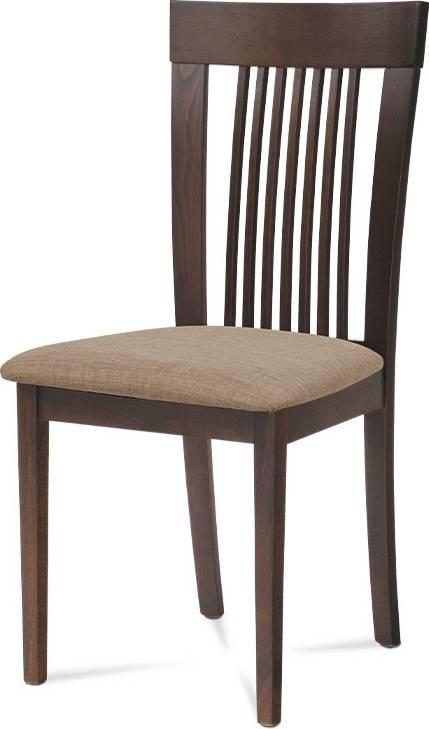 Jídelní židle, barva ořech, potah krémový BC-3940 WAL Art