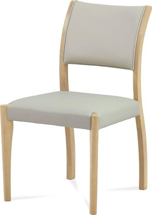 Jídelní židle bělený dub / koženka lanýžová C-186 OAK1 Art