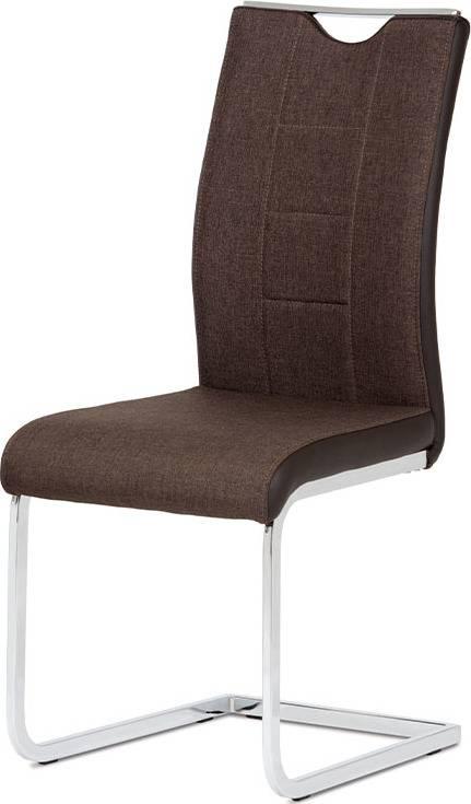 Jídelní židle chrom / hnědá látka + hnědá koženka DCL-410 BR2 Art