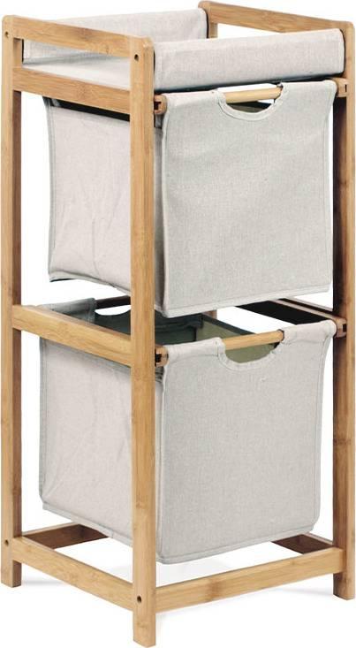 AUTRONIC Regál 2 šuplíky, lakovaný bambus a látka DR-012-2