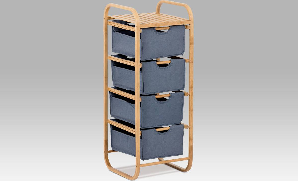 Regál bambusový 4-šuplíky (šuplíky v modré barvě) DR-017A Art