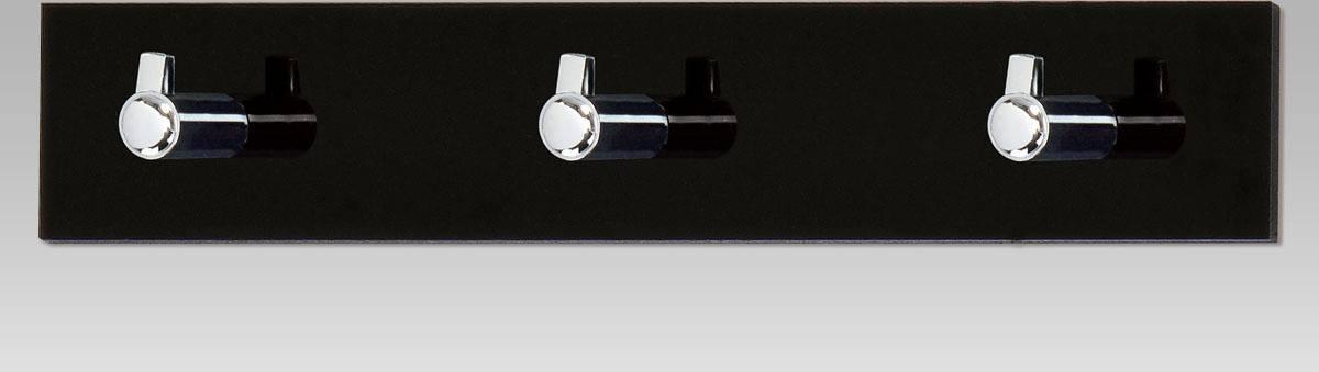 Nástěnný věšák - 3 háčky, černý akrylát / chrom GC3503-3 BK Art