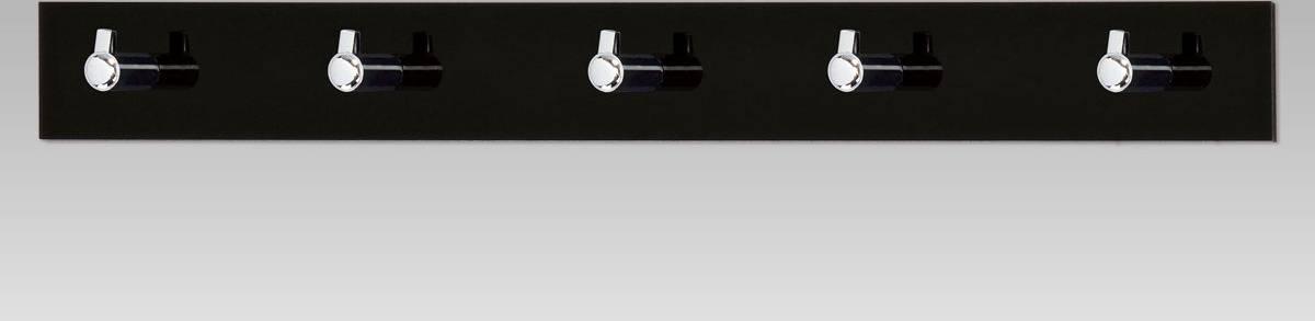 Nástěnný věšák - 5 háčků, černý akrylát / chrom GC3503-5 BK Art
