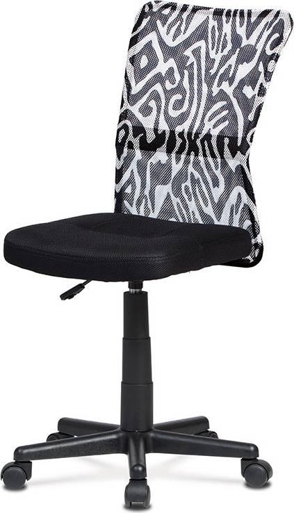 Kancelářská židle, černá mesh, plastový kříž, síťovina motiv KA-2325 BKW Art