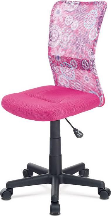 Kancelářská židle, růžová mesh, plastový kříž, síťovina motiv KA-2325 PINK Art