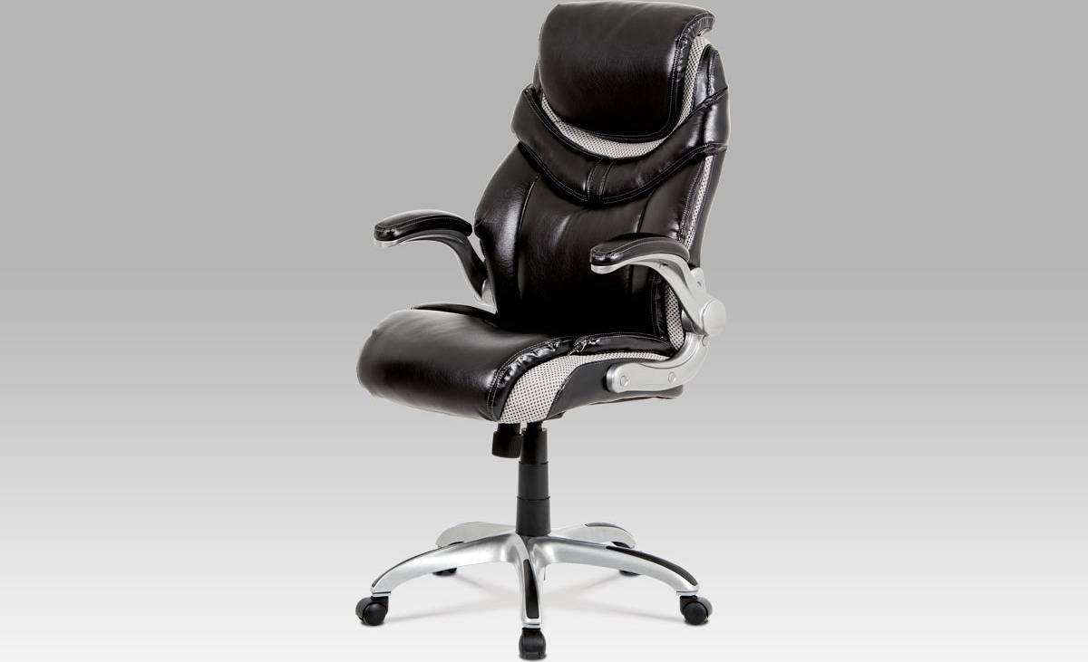 Kancelářská židle, houpací mech., černá koženka, plast. kříž KA-A170 BK Art