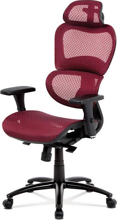 Kancelářská židle, synchronní mech., červená MESH, kovový kříž KA-A188 RED Art