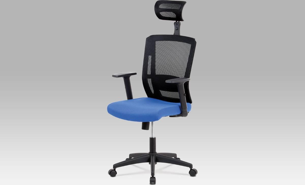Kancelářská židle, houpací mechanismus, modrá látka, plastový kříž, plastová kolečka KA-B1076 BLUE Art