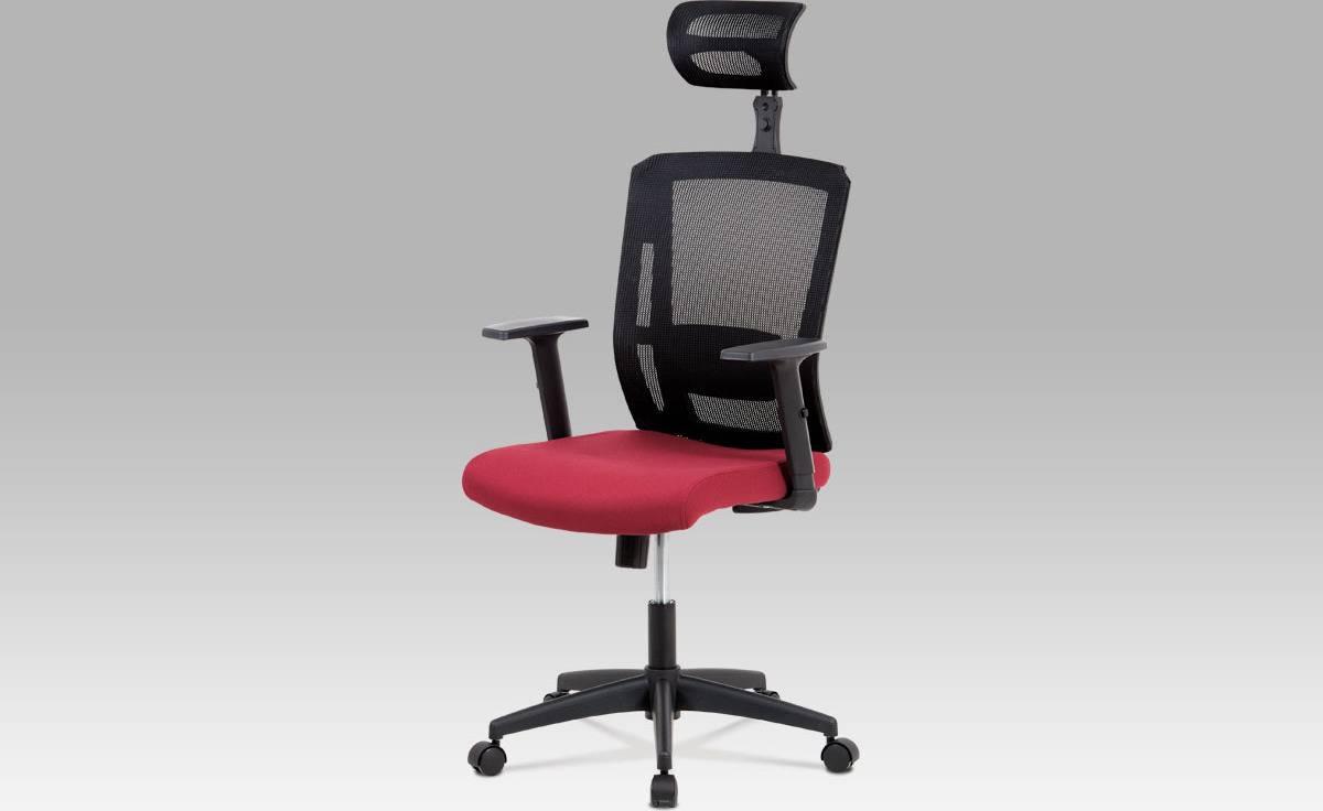 Kancelářská židle, houpací mechanismus, bordo látka, plastový kříž, plastová kolečka KA-B1076 BOR Art